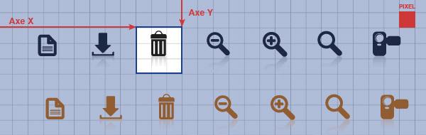 Exemple de Sprite avec Zone visible et Axes X,Y