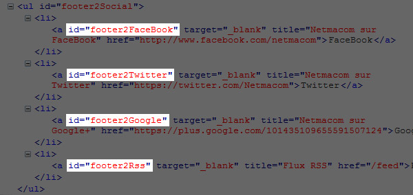 Scructure HTML icones sociaux Netmacom
